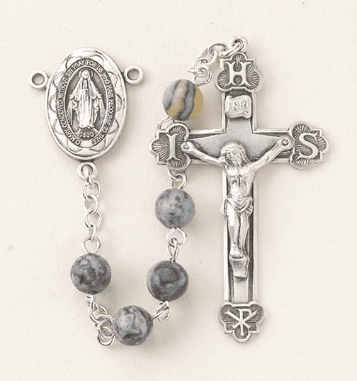 HMH Religious Round 6mm Lime Line Stone Sterling Silver Miraculous Rosary