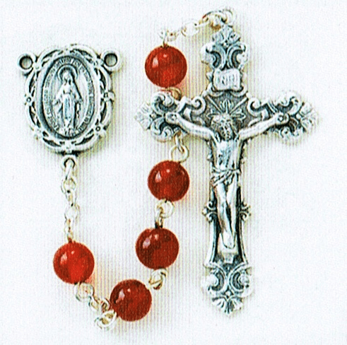HMH Religious Round 6mm Red Agate Gemstone Sterling Silver Prayer Rosary