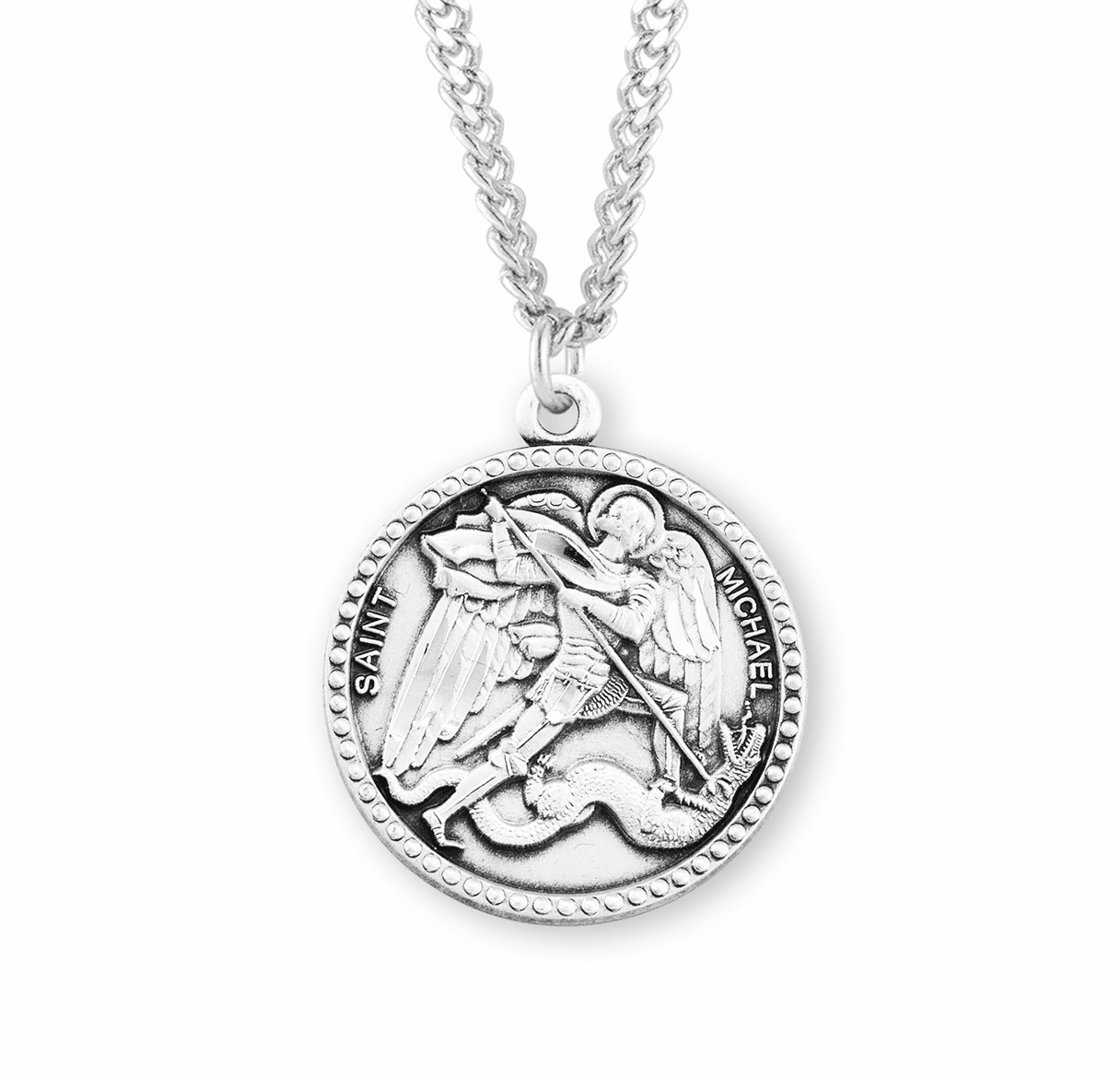 HMH Religious Round Beaded Edged St Michael Sterling Silver Medal Necklace