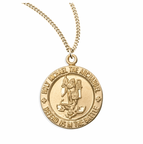 HMH Religious Round Gold over Sterling Silver St Michael Medal Necklace