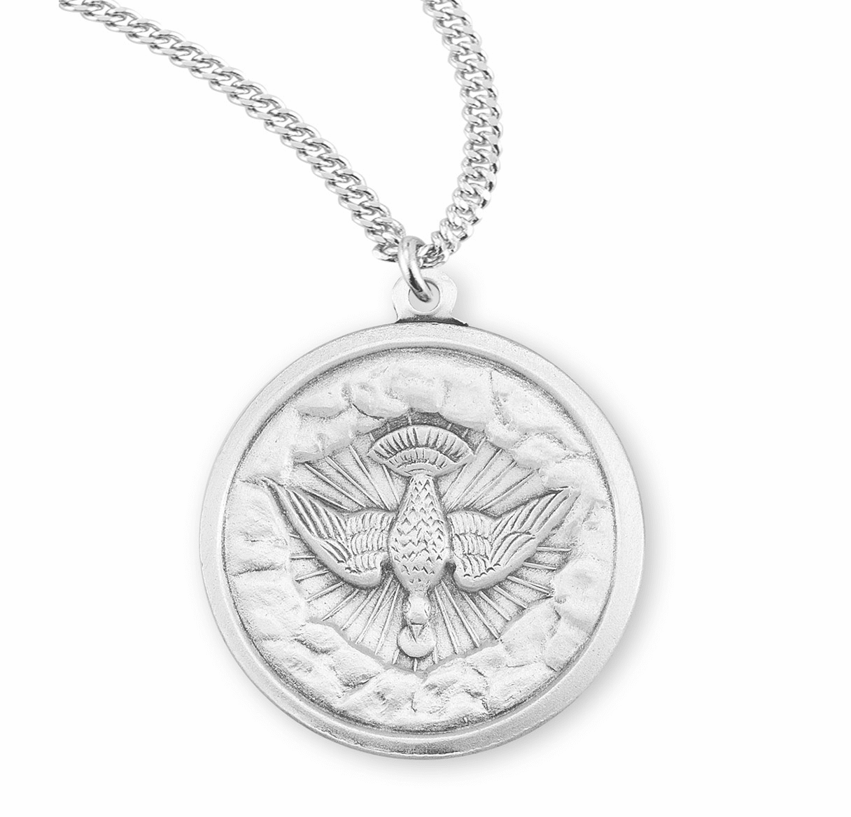 HMH Religious Round Holy Spirit Sterling Silver Medal Necklace