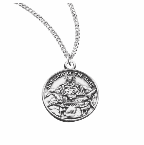 HMH Religious Round Our Lady of Loretto Saint of Aviators Medal Necklace