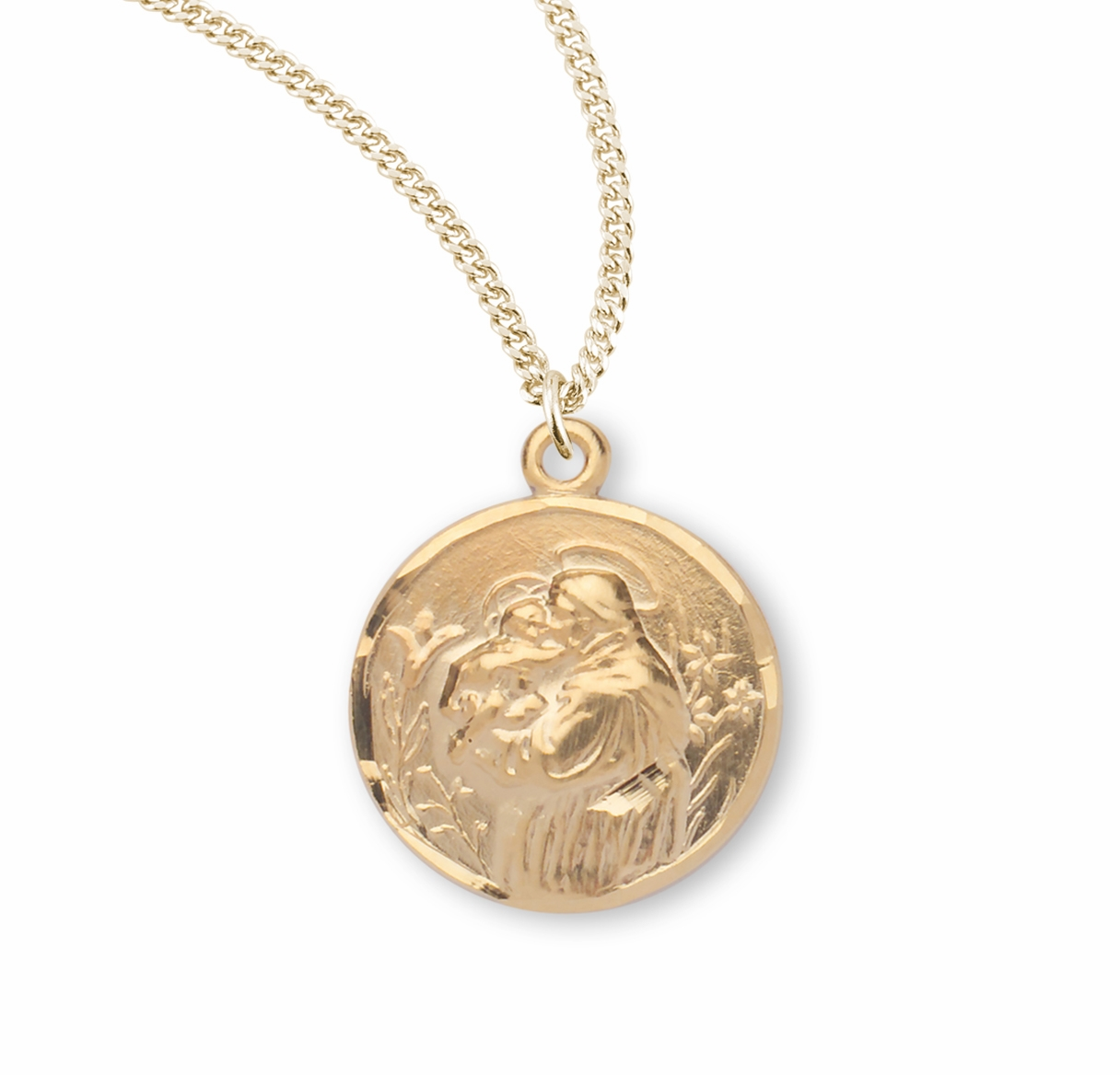 HMH Religious Round Patron Saint Anthony Gold/Sterling Medal Necklace
