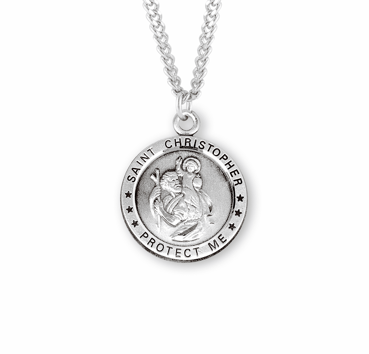 HMH Religious Round Sterling Silver St Christopher Medal Necklace