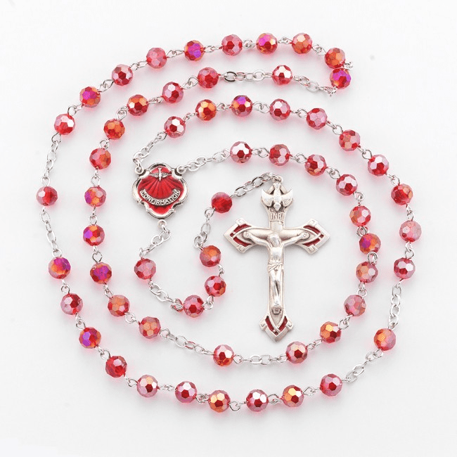 HMH Religious Ruby Faceted Beads Confirmation Pewter Rosary