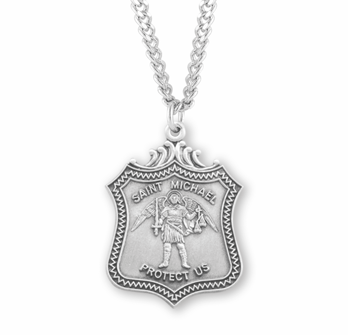 HMH Religious S Michael Protect Us Shield Sterling Silver Medal Necklace