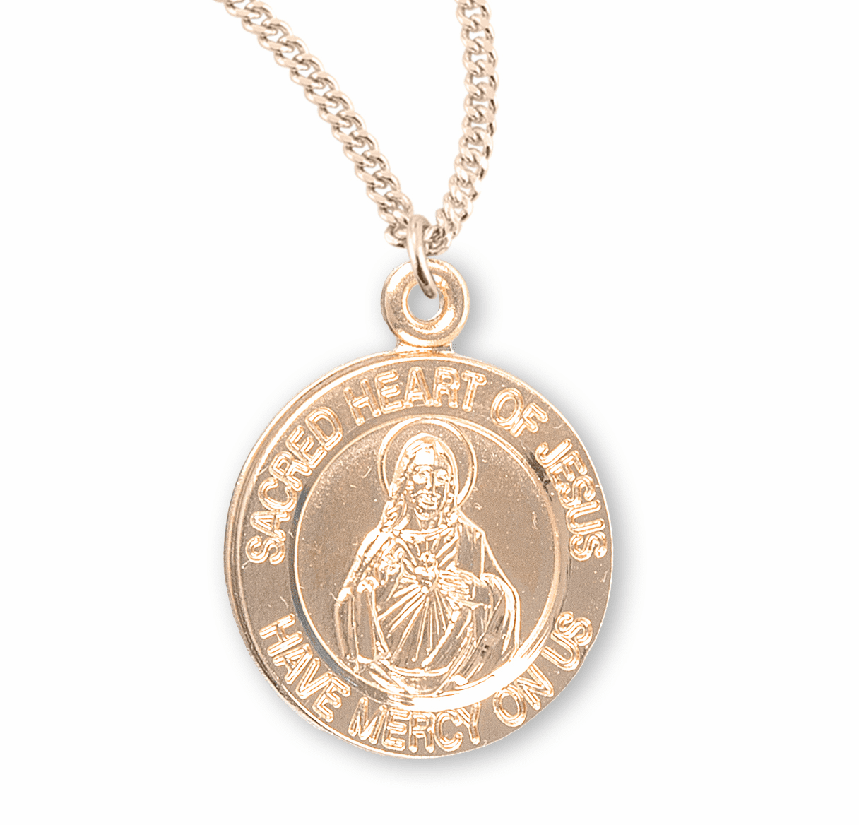 HMH Religious Sacred Heart of Jesus Gold/Sterling Silver Pendant Necklace