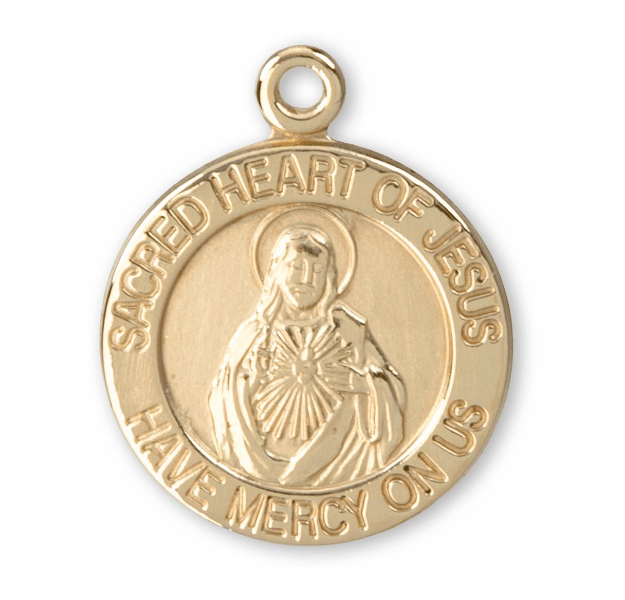 HMH Religious Sacred Heart of Jesus Solid 14 Karat Gold Medal with Jump Ring