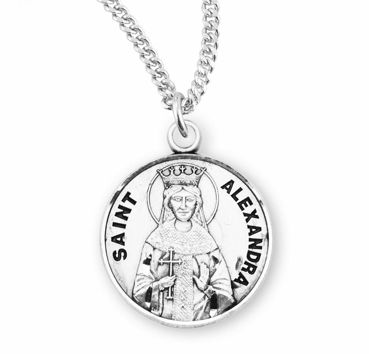 HMH Religious Saint Alexandra Sterling Silver Medal Necklace