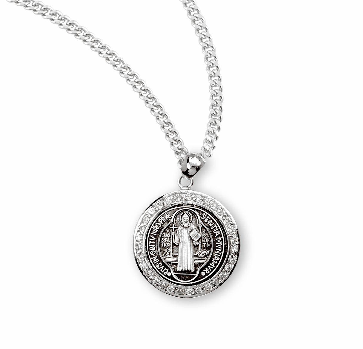 HMH Religious Saint Benedict Sterling Silver Medal with Cubic Zircon Necklace