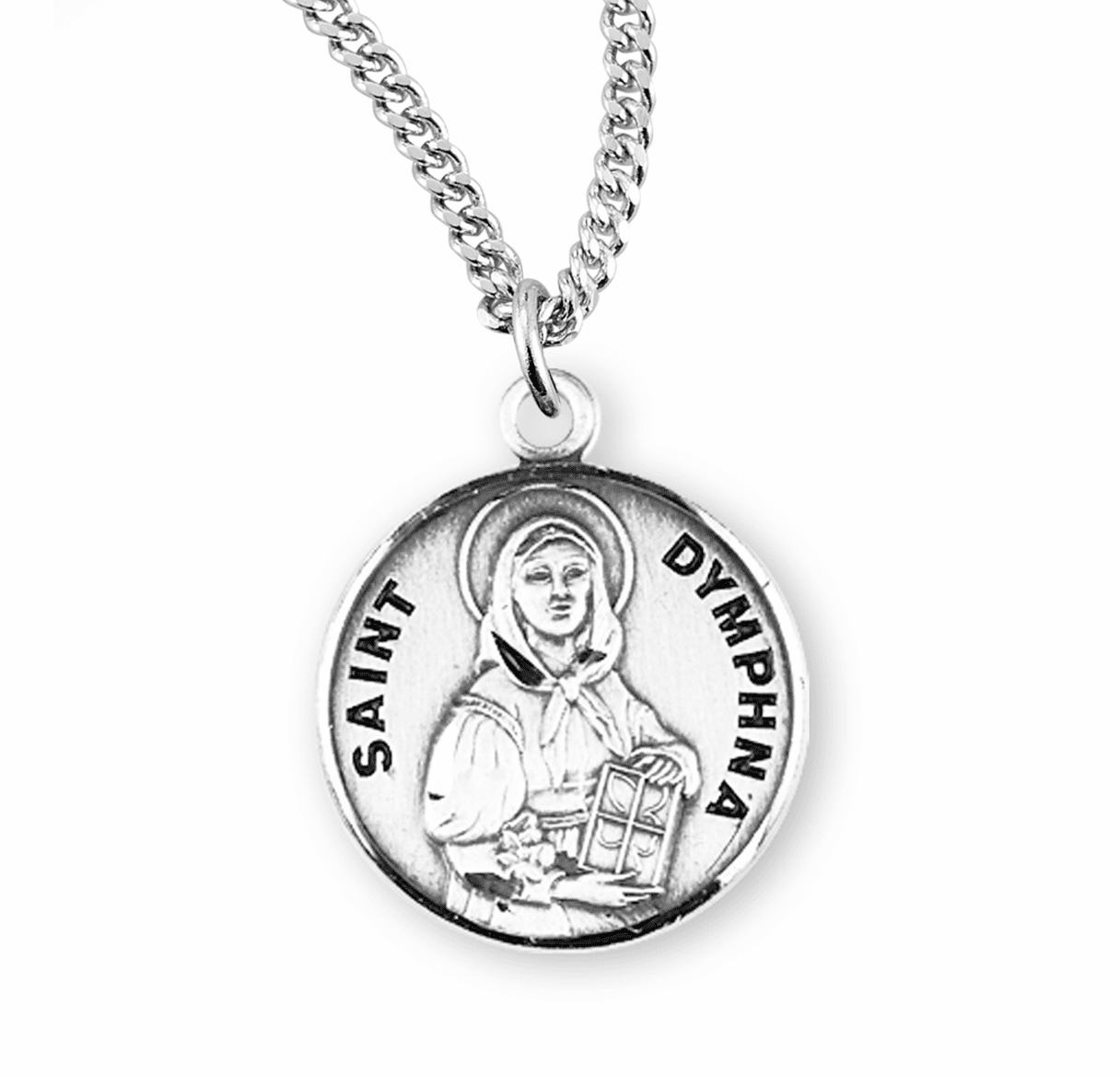 HMH Religious Saint Dymphna Sterling Silver Medal Necklace