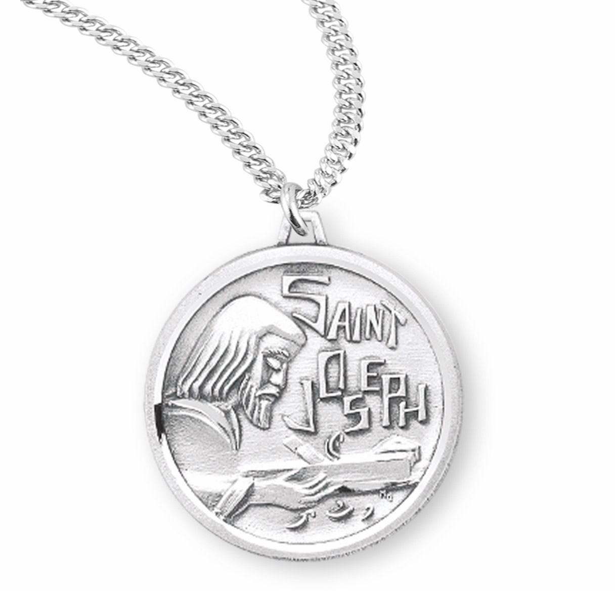 HMH Religious Saint Joseph the Worker Sterling Silver Medal Necklace