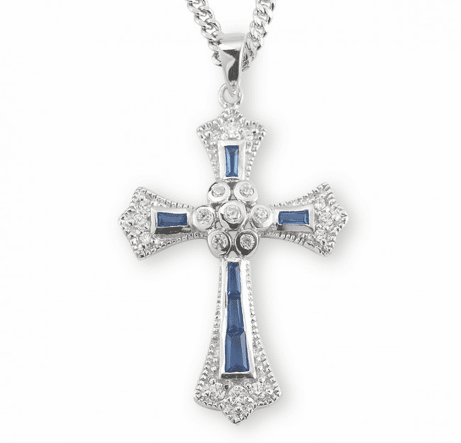 HMH Religious Sapphire Cubic Zircon Crystal Sterling Silver Cross Pendant Necklace