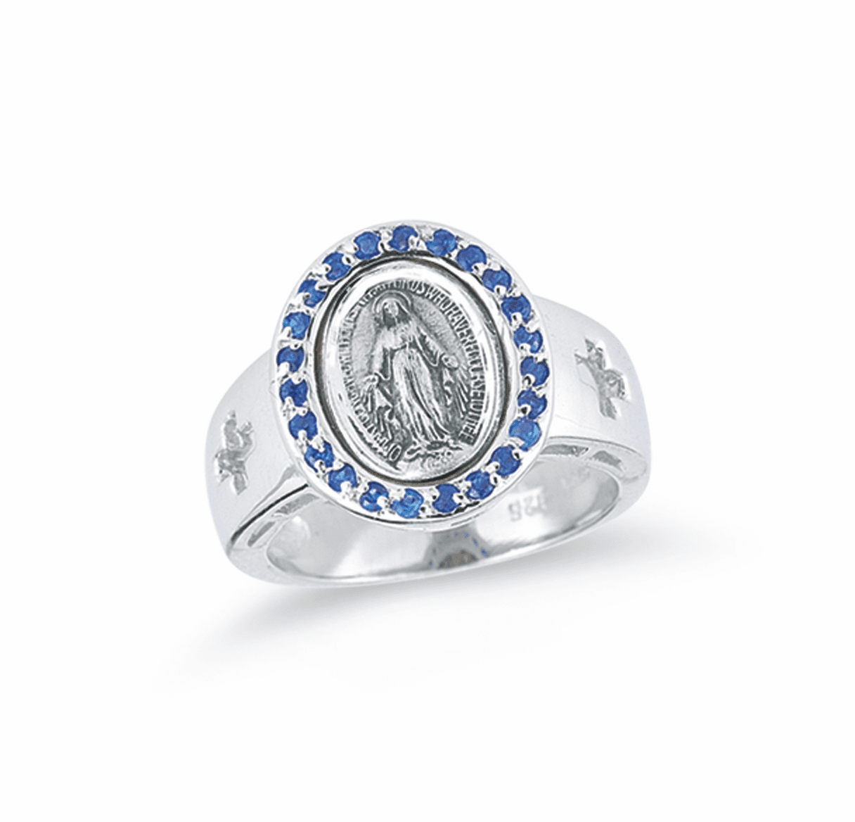 HMH Religious Sapphire Miraculous Medal Sterling Silver Ring