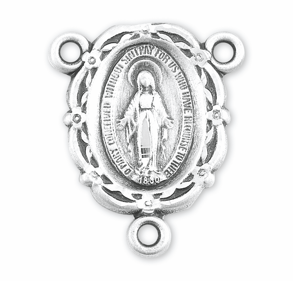 HMH Religious Scallop Edge Miraculous Medal Sterling Silver Rosary Center