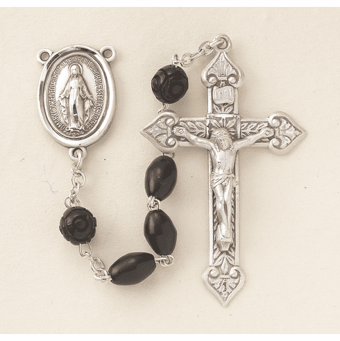 HMH Religious Scapular Black Coco Beads w/Carved Bead Rosary