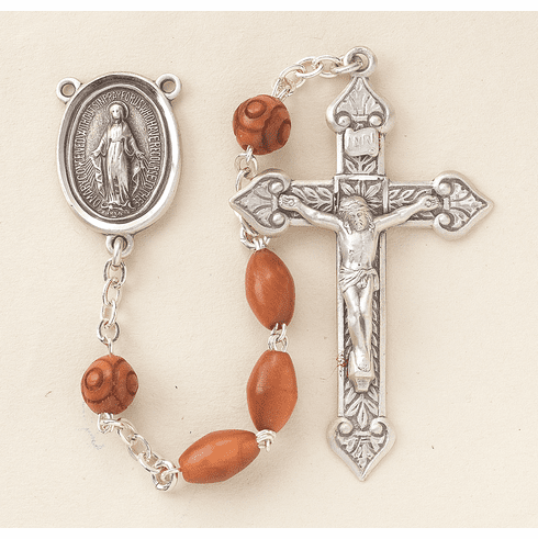 HMH Religious Scapular Brown Coco Beads w/Carved Bead Rosary