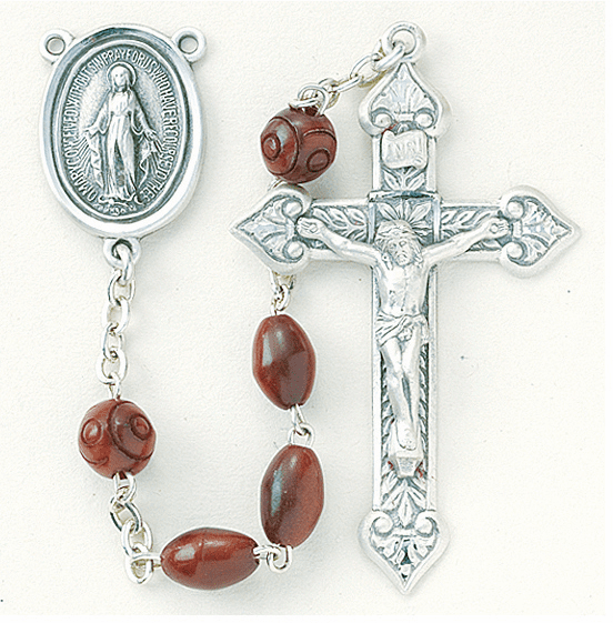 HMH Religious Scapular Maroon Coco Beads w/Carved Bead Rosary