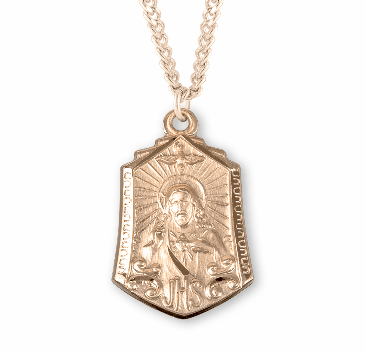 HMH Religious Scapular Medal w/Holy Spirit Necklace
