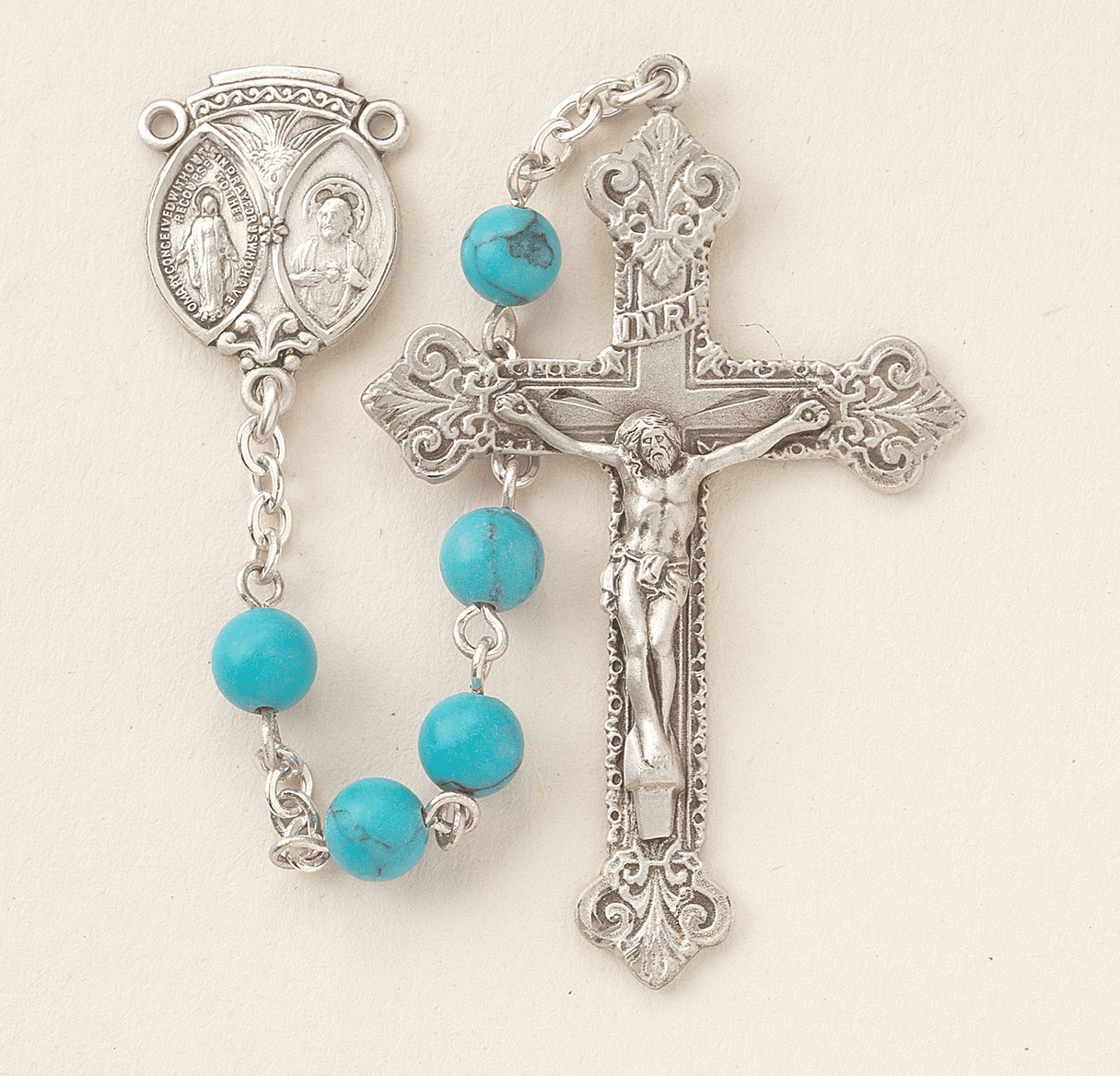 HMH Religious Scapular Sterling 6mm Turquoise Catholic Prayer Rosary