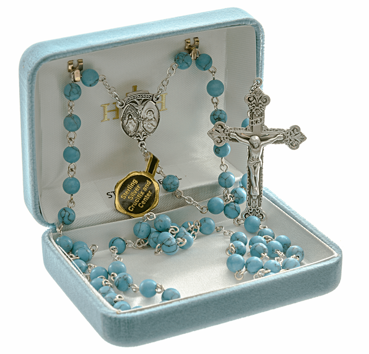 HMH Religious Scapular Sterling 6mm Turquoise Howlite Catholic Rosary