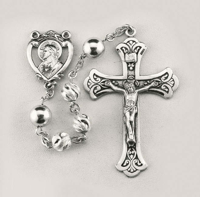HMH Religious Scapular Swirl Embossed Frosted Sterling Silver Bead Prayer Rosary