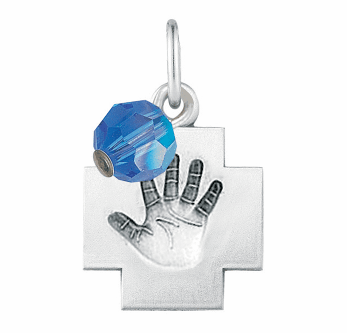 HMH Religious September Sapphire Baby Hand Print Necklace