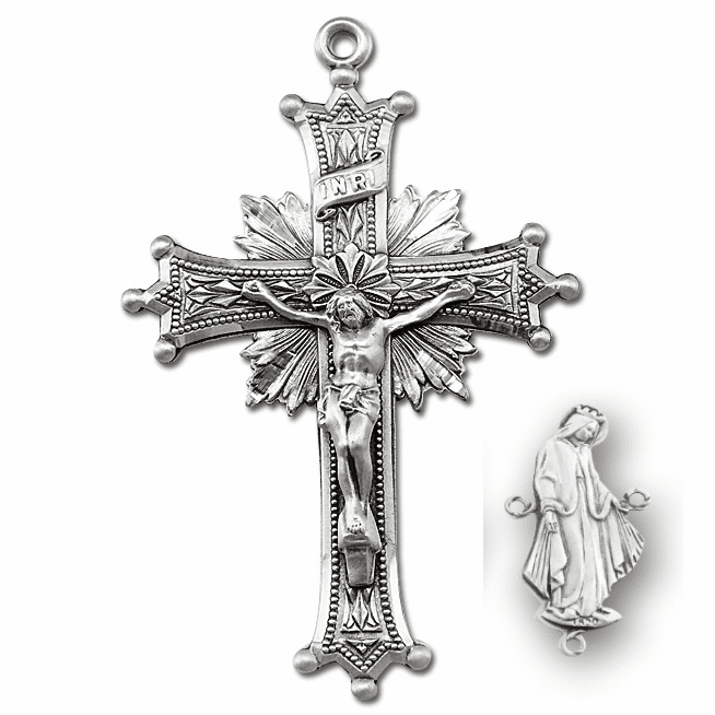 HMH Religious Side Our Lady of Grace Crucifix and Centerpiece Rosary Sets