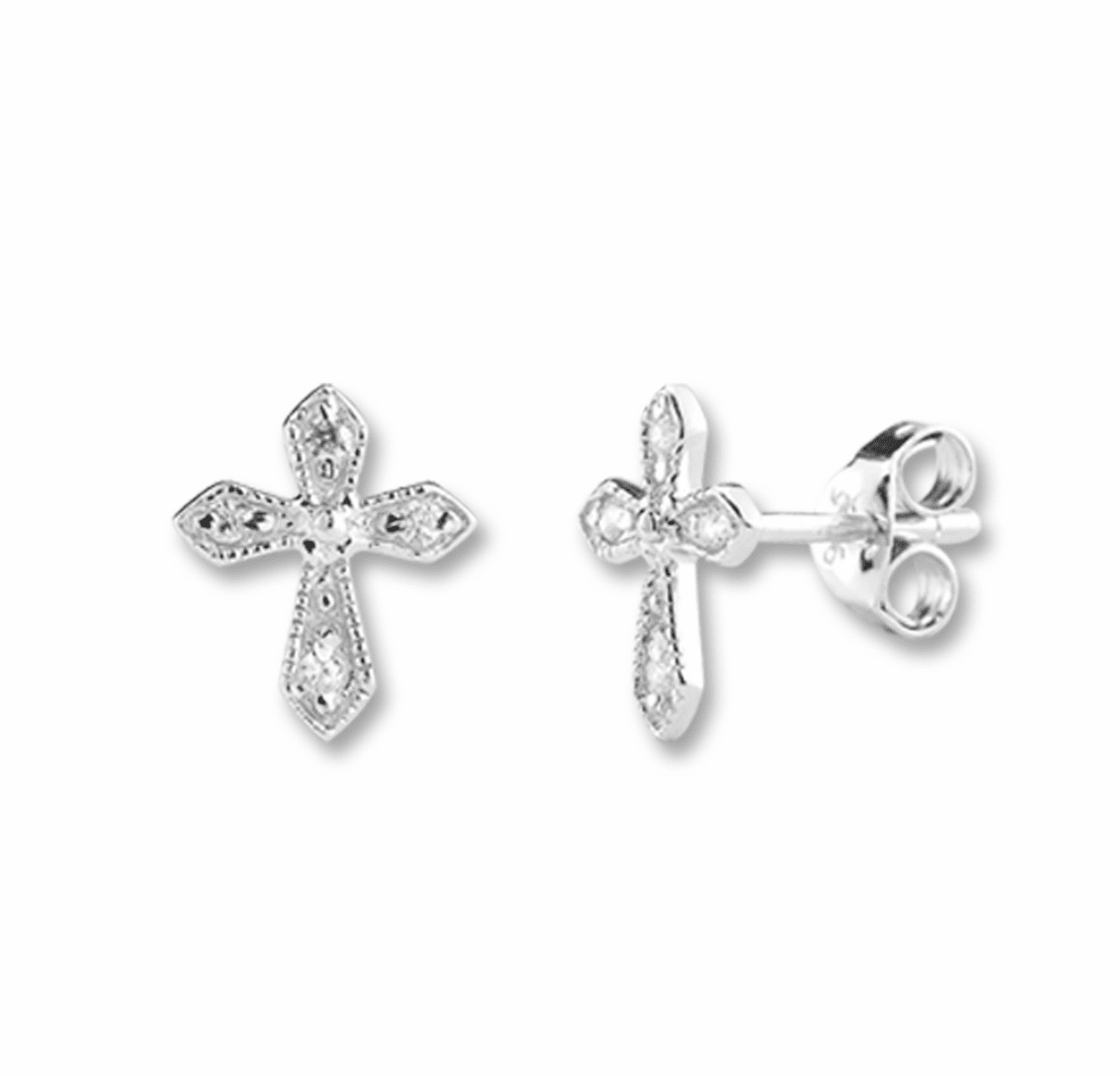 HMH Religious Six Cubic Zircons Cross Sterling Silver Earrings