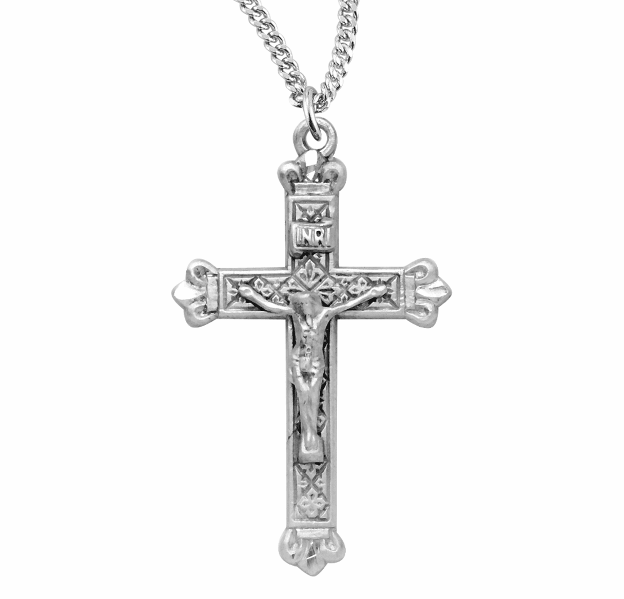 HMH Religious Small Decorative Budded Tip Sterling Crucifix Necklace