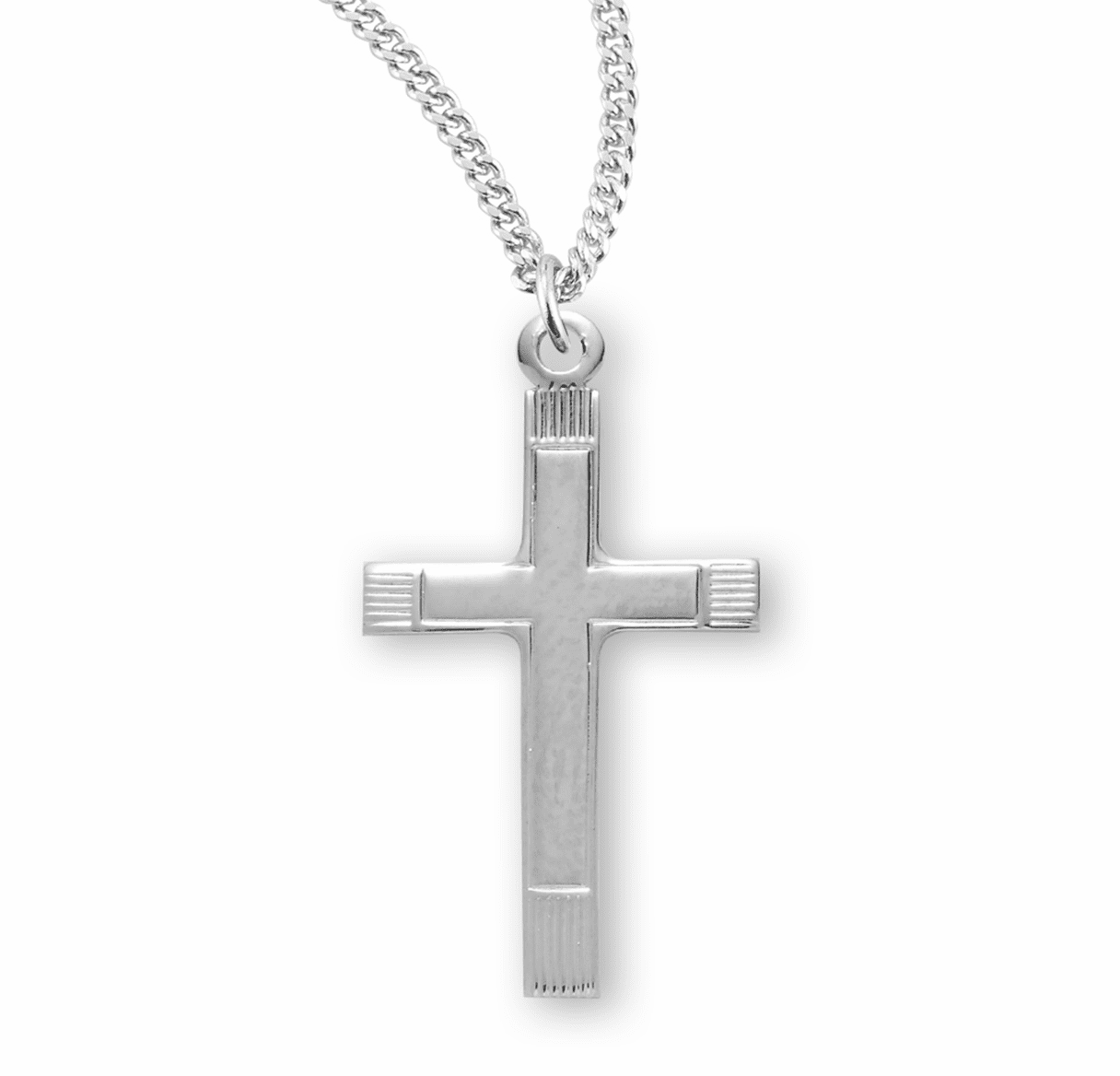 HMH Religious Small Fancy Sterling Silver Cross Necklace