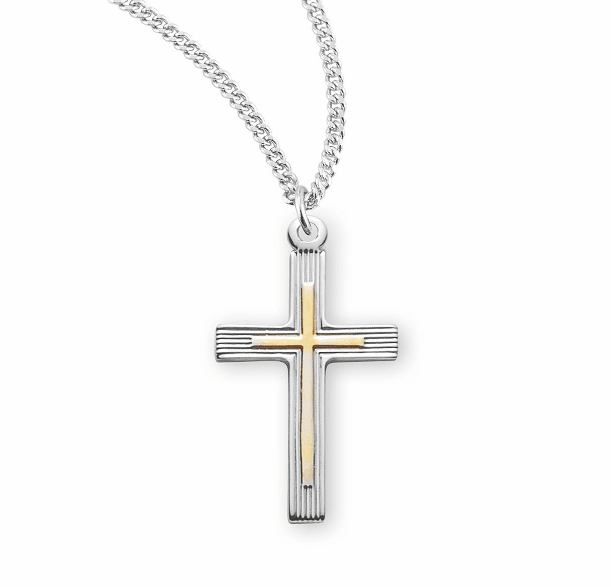HMH Religious Small Fancy Tu-Tone Sterling Silver Cross Necklace