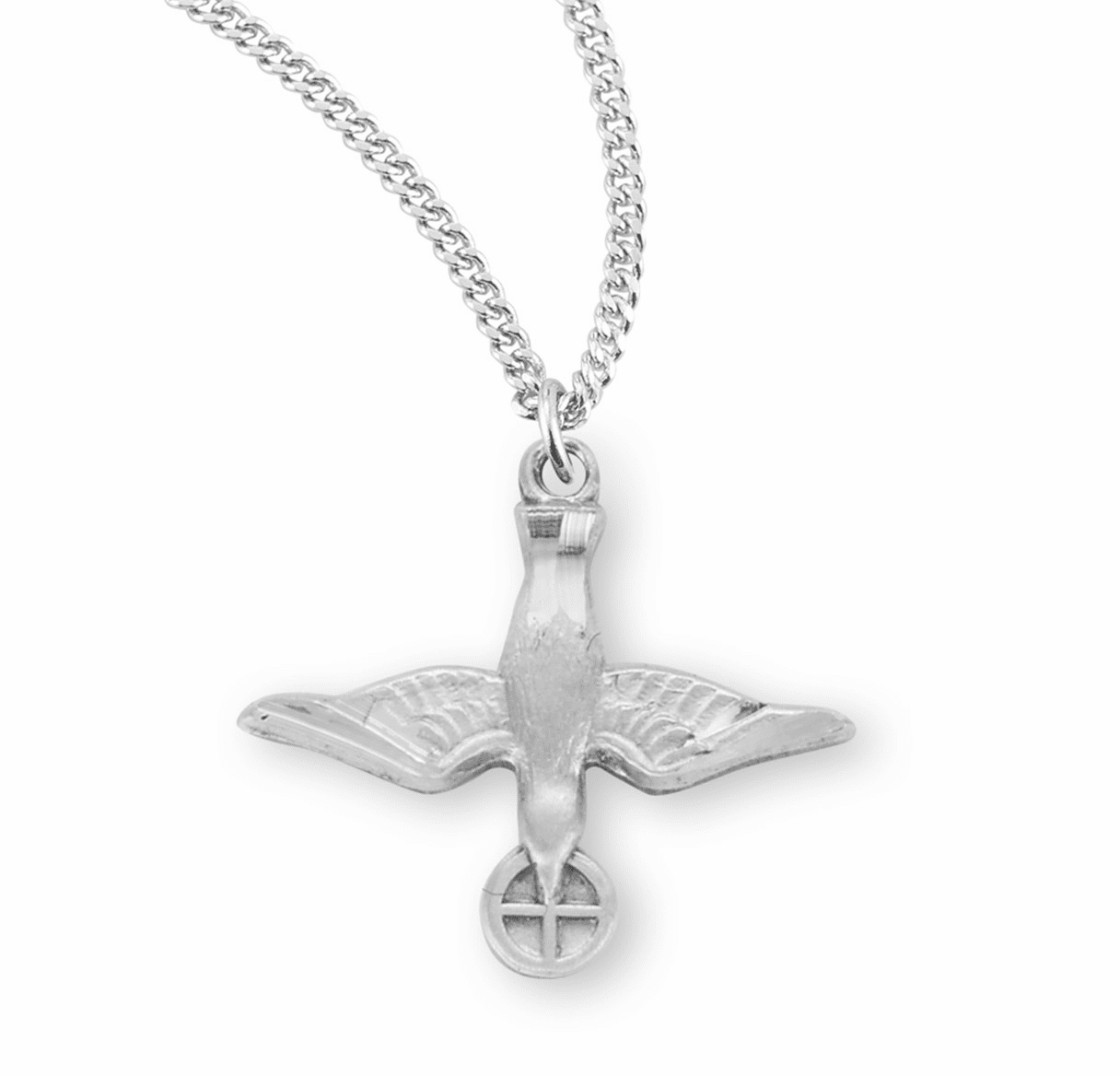 HMH Religious Small Holy Spirit Dove Medal w/Cross Necklace