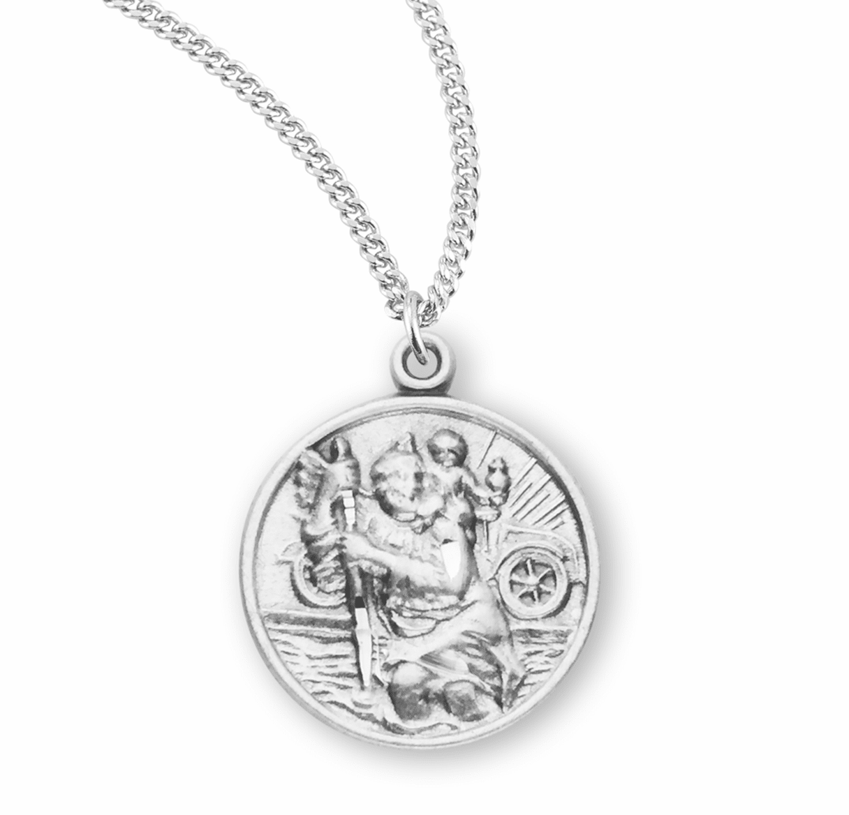 HMH Religious Small Round Sterling Silver St Christopher Medal Necklace