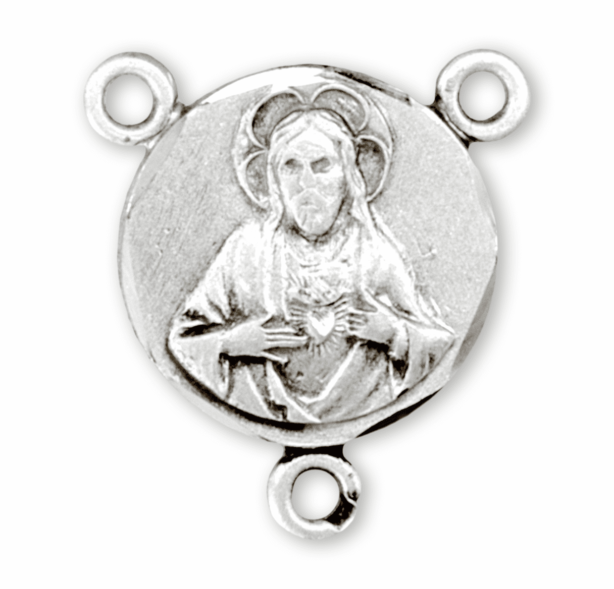 HMH Religious Small Sacred Heart of Jesus Scapular Sterling Silver Center Rosary Parts
