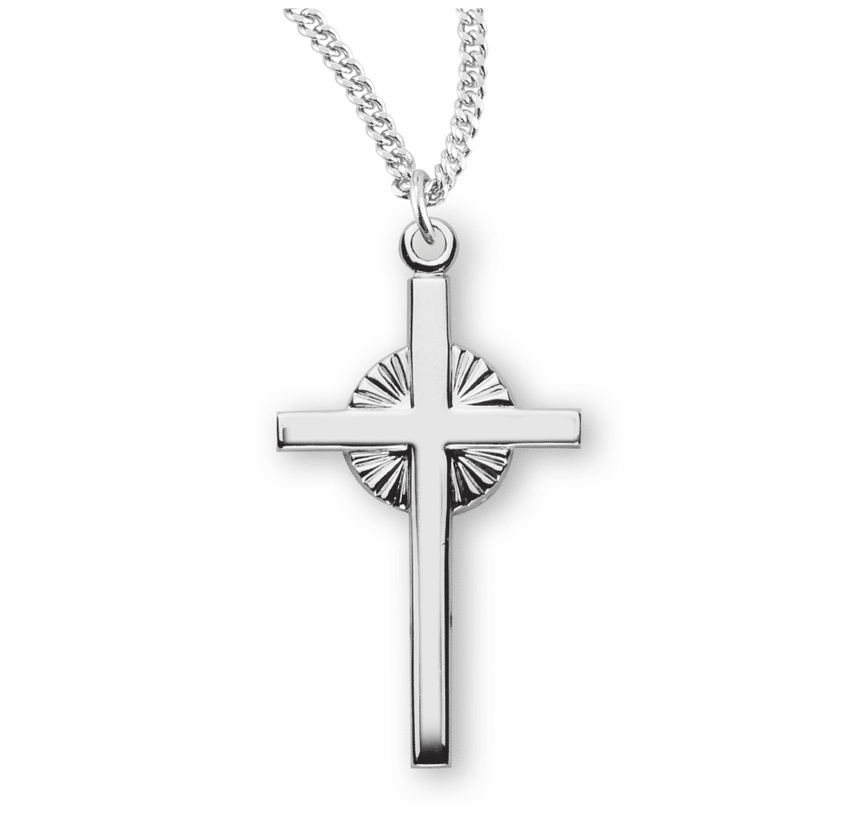HMH Religious Small Sterling Silver Fancy Radiant Cross Necklace