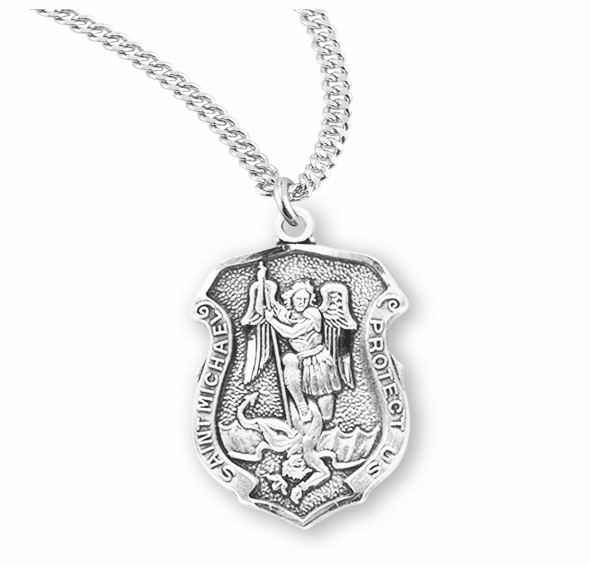 HMH Religious Small Sterling Silver St Michael Shield Medal Necklace