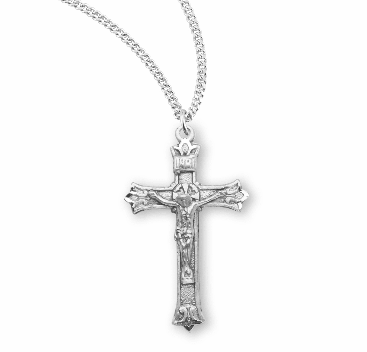 HMH Religious Small Triple Flare Tip Sterling Silver Crucifix Necklace