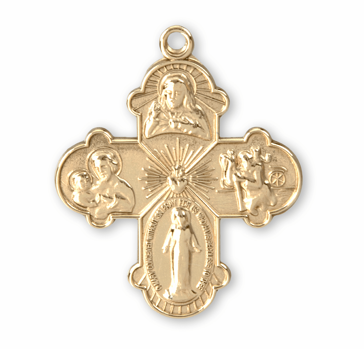 HMH Religious Solid 14kt Gold 4-Way Cross Medal with Jump Ring