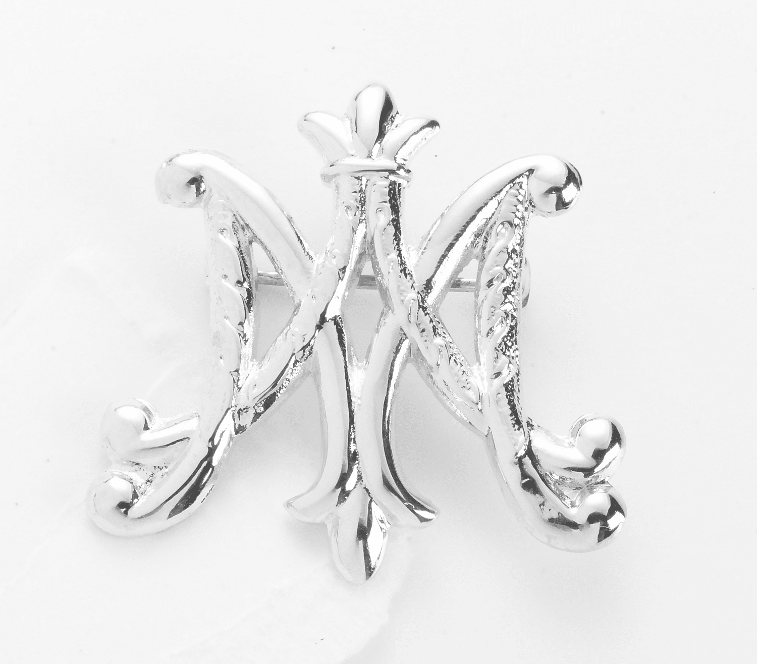 HMH Religious Solid Sterling Silver Ave Maria Brooch Pin