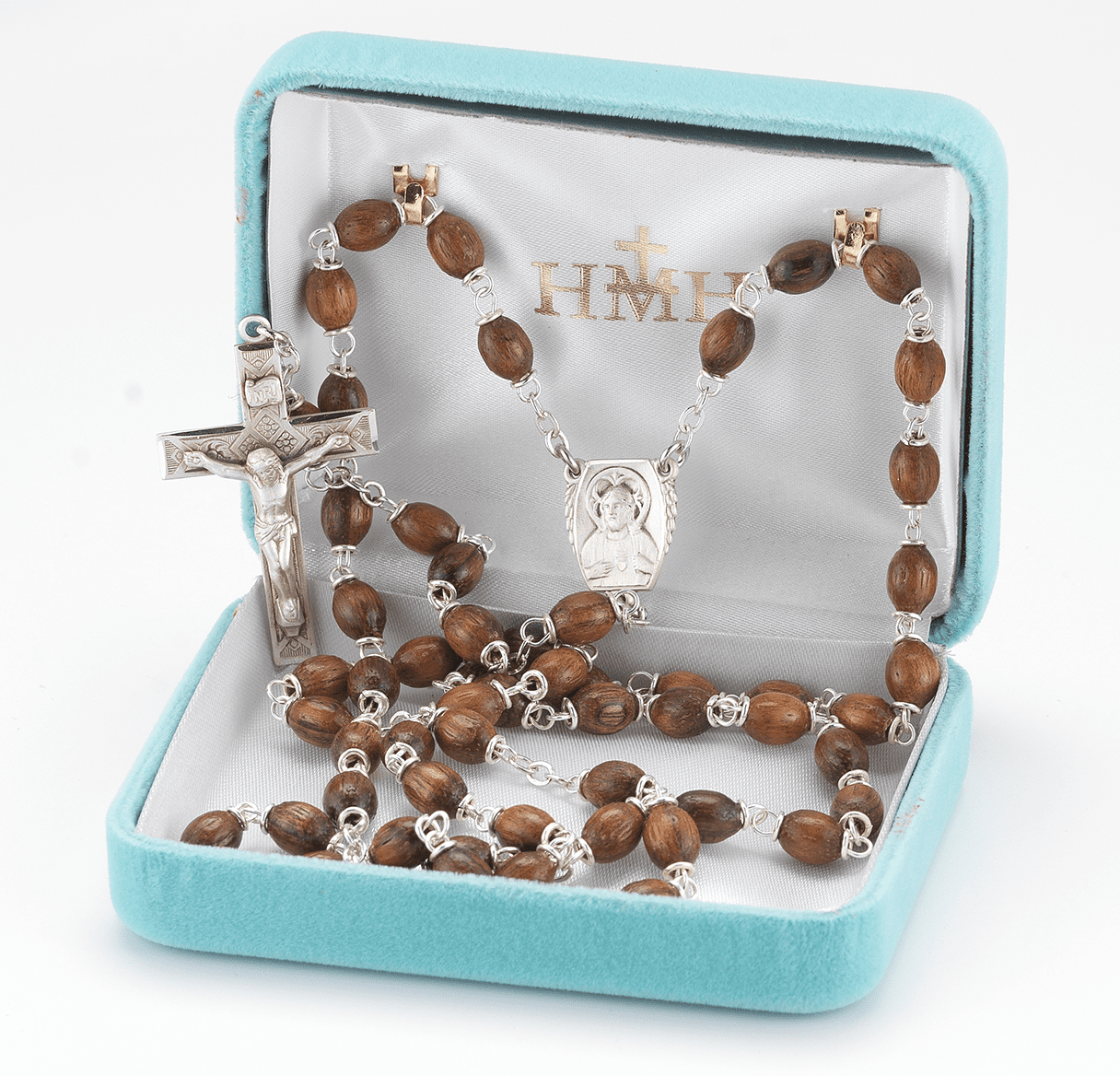 HMH Religious Solid Walnut Oval Polished Beads Sterling Scapular Rosary