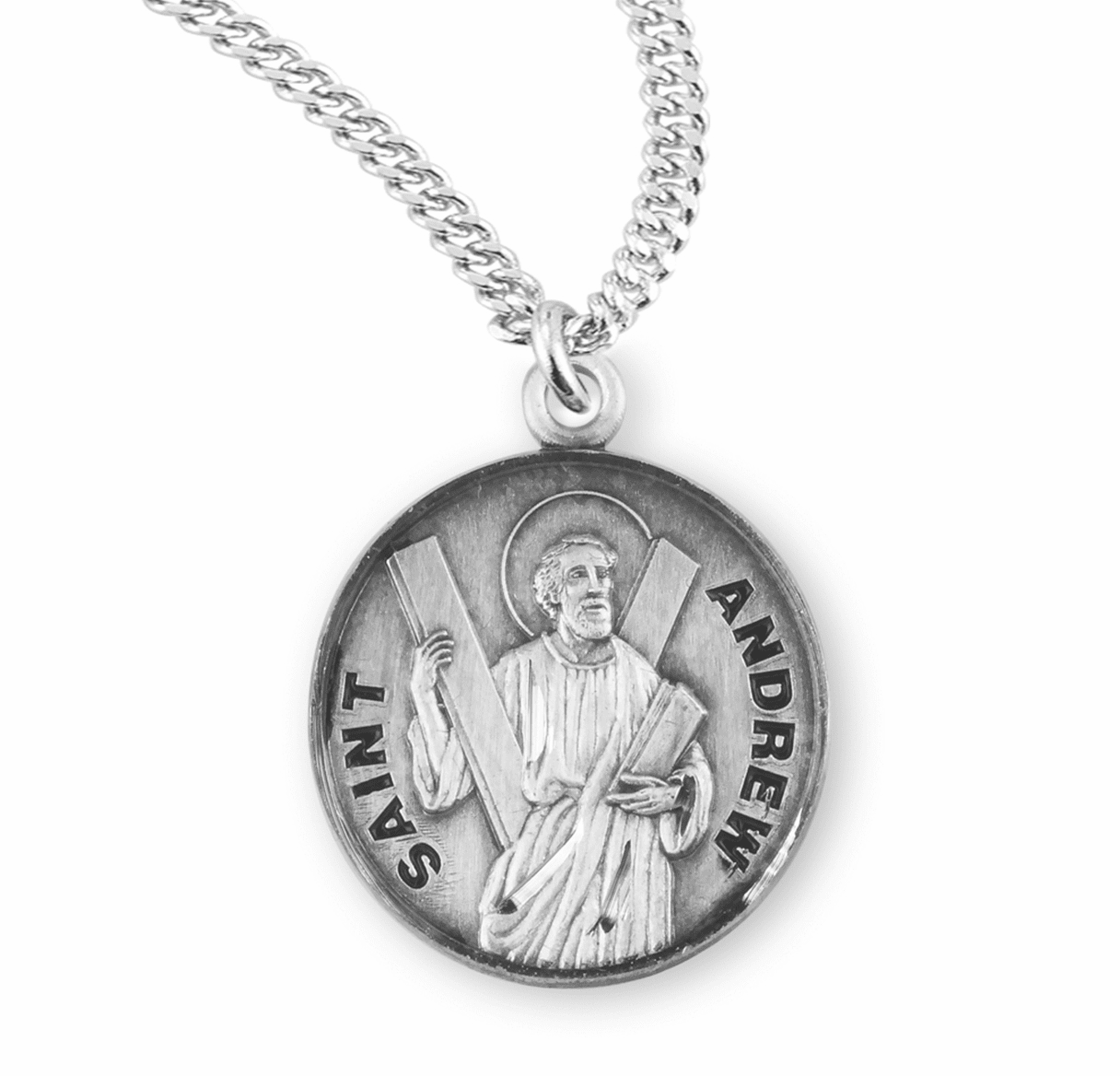 HMH Religious St Andrew Sterling Silver Patron Saint Necklace