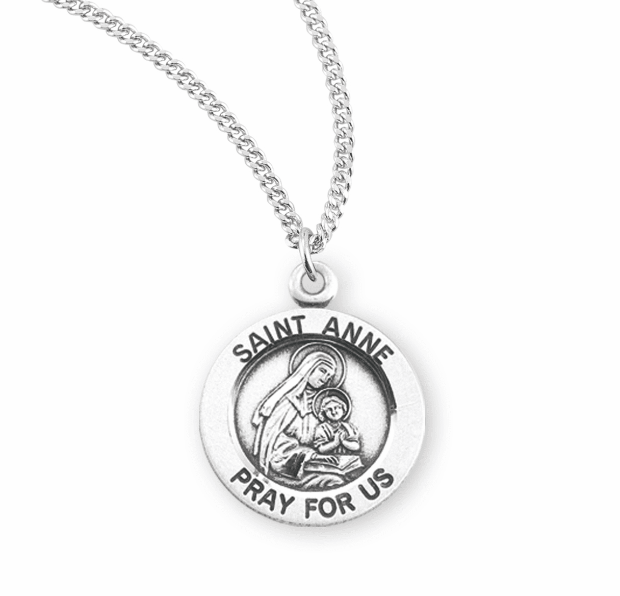 HMH Religious St Anne Pray For Us Round Sterling Silver Pendant Necklace