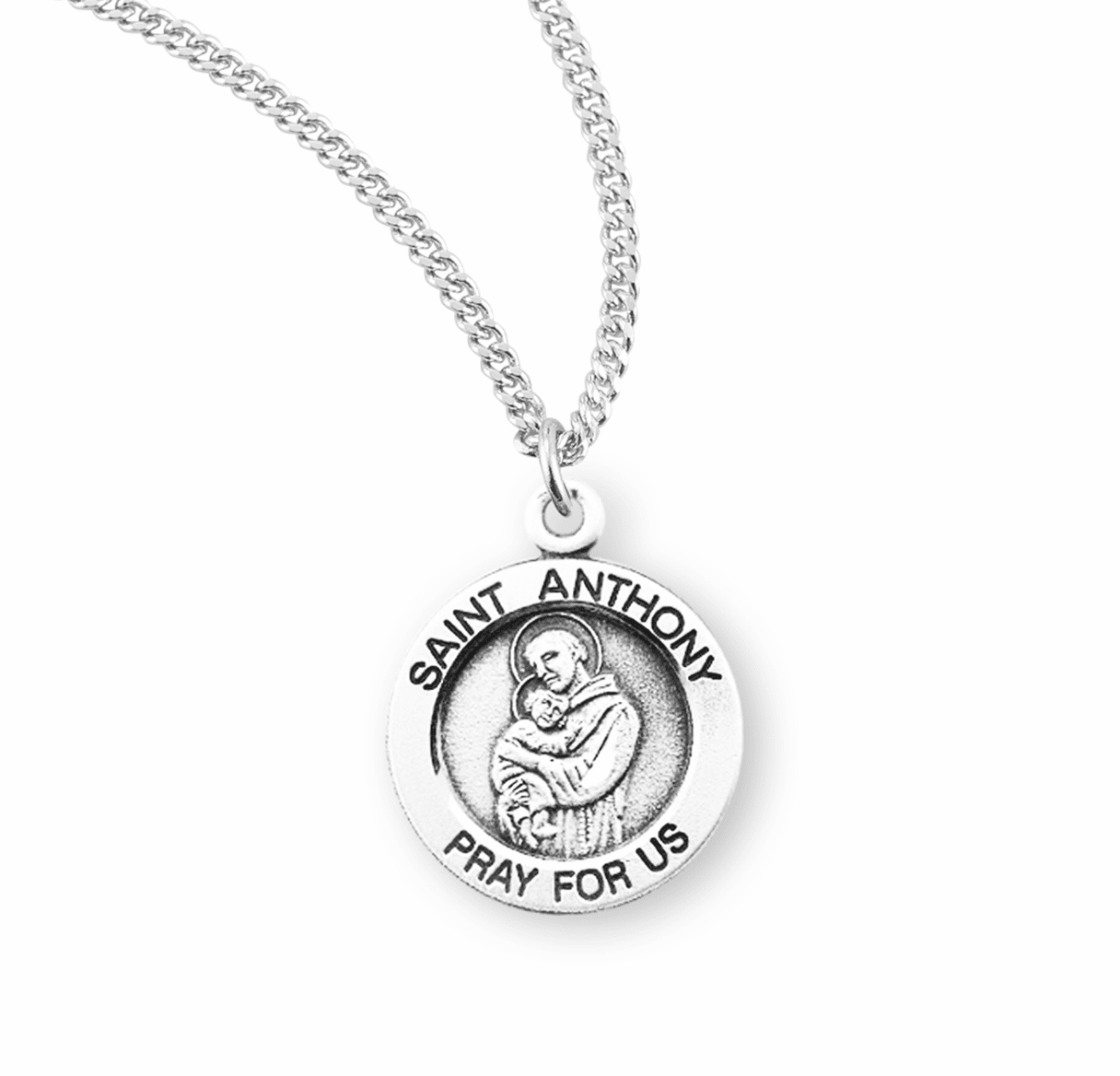 HMH Religious St Anthony holding the Child Jesus Sterling Silver Pendant Necklace