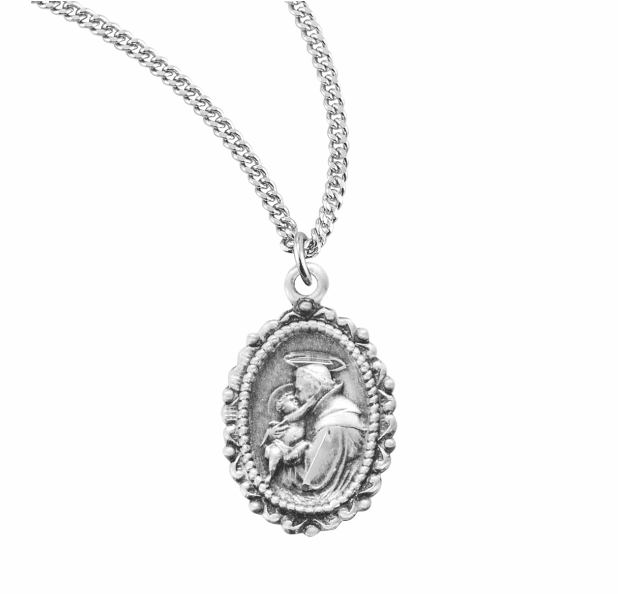 HMH Religious St Anthony of Padua Sterling Silver Medal Necklace