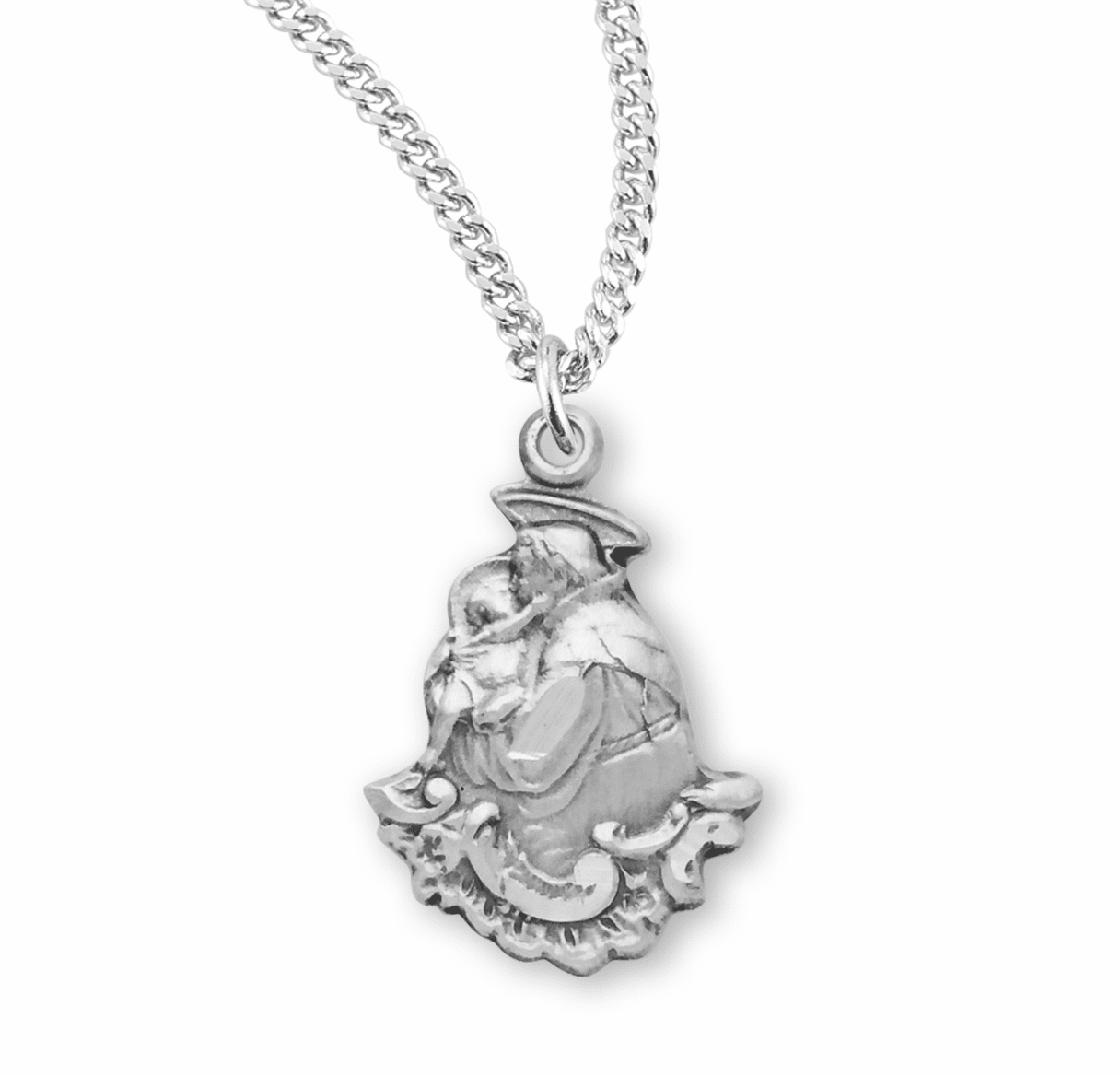 HMH Religious St Anthony Small Figured Sterling Silver Necklace