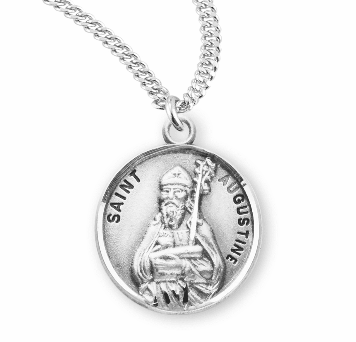HMH Religious St Augustine of Hippo Sterling Silver Patron Saint Necklace