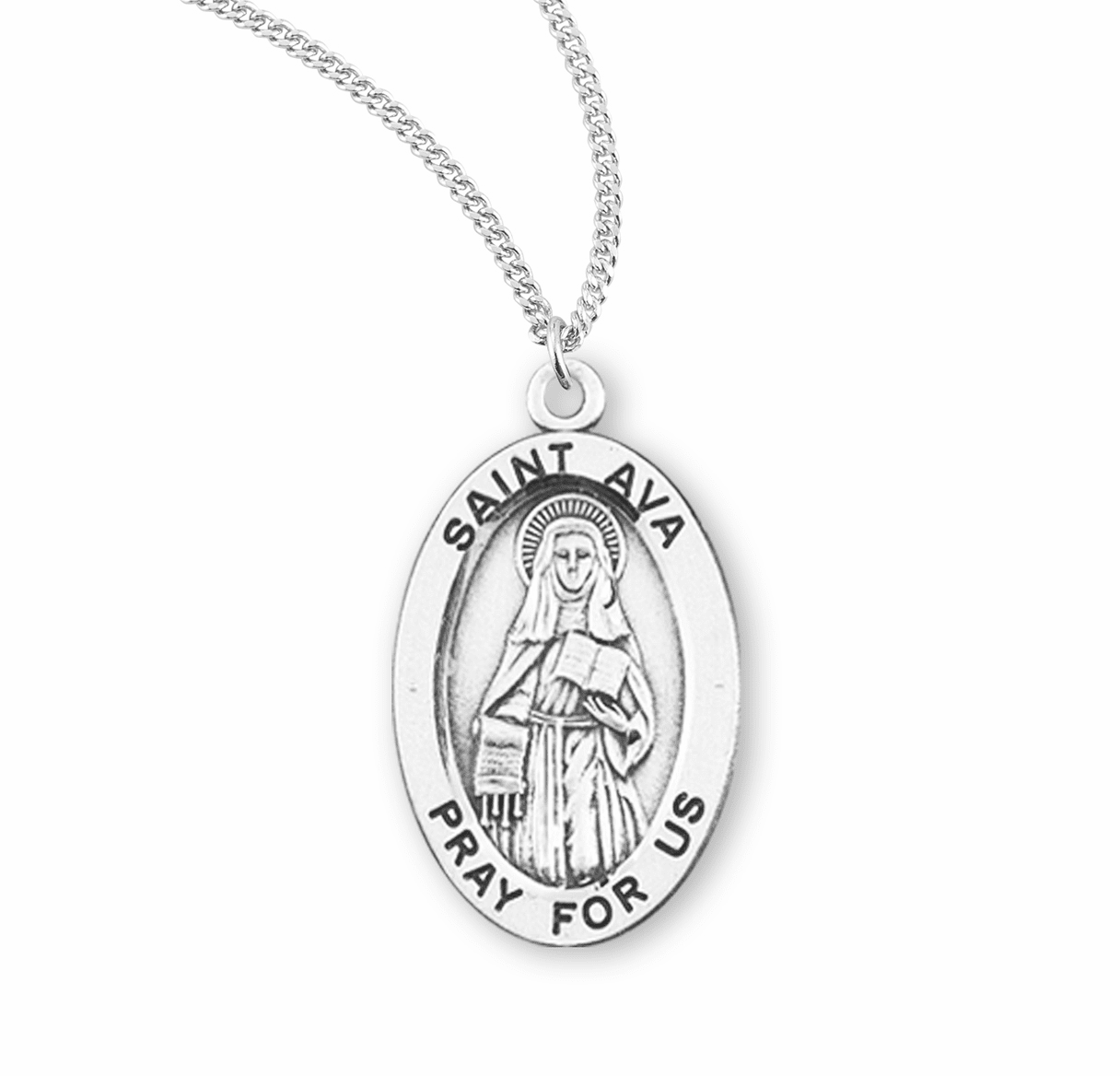 HMH Religious St Ava Catholic Patron Saint Sterling Silver Medal Necklace