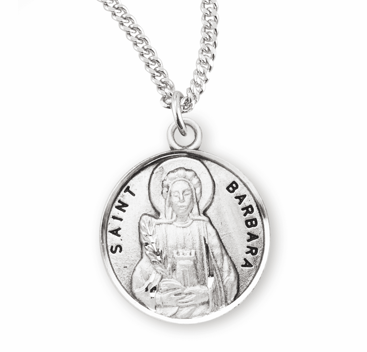 HMH Religious St Barbara Sterling Silver Patron Saint Necklace