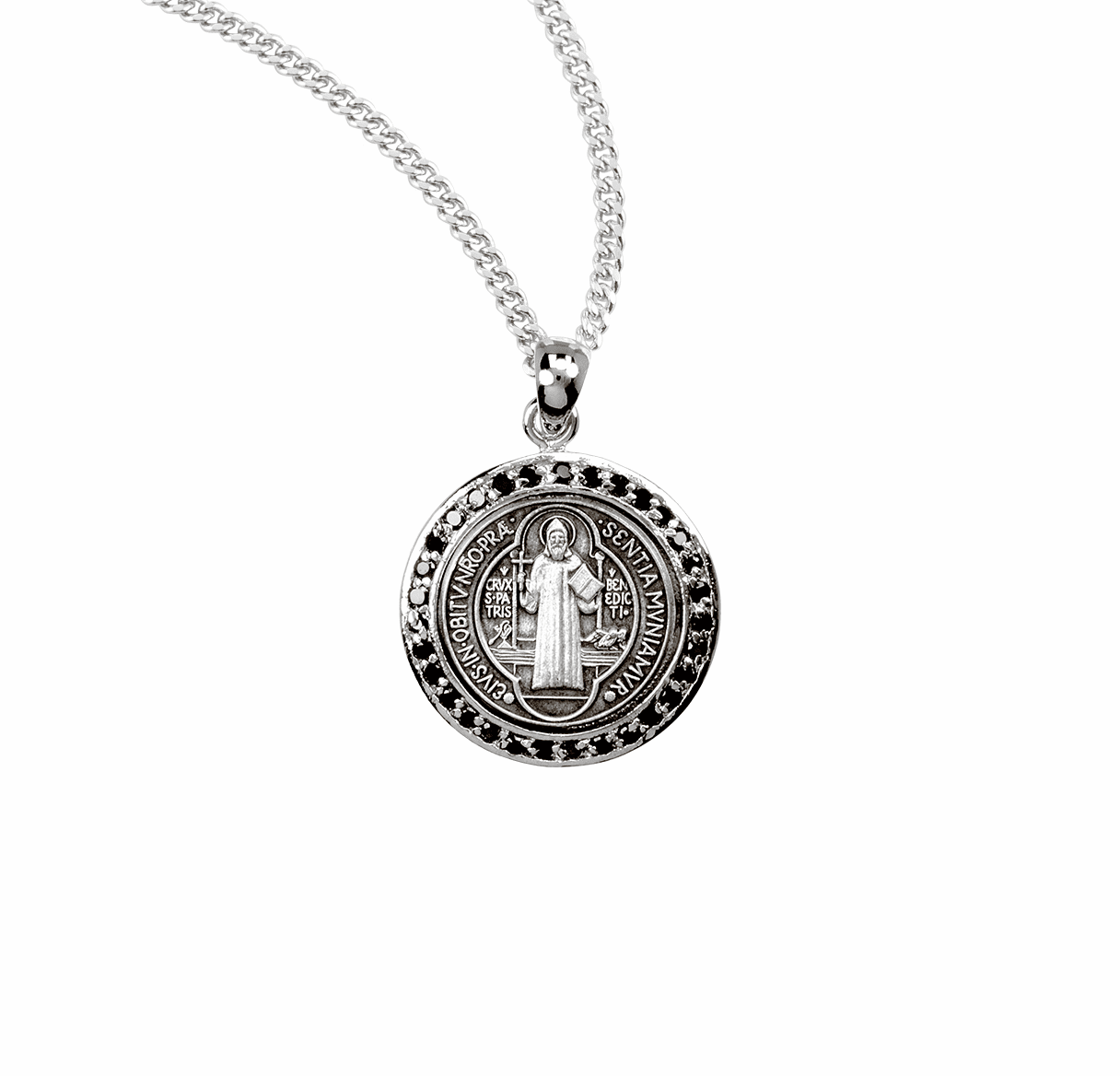 HMH Religious St Benedict Black Cubic Zircon Sterling Silver Medal Necklace